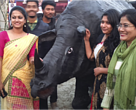 Tezpur University students participate in the rhino walk